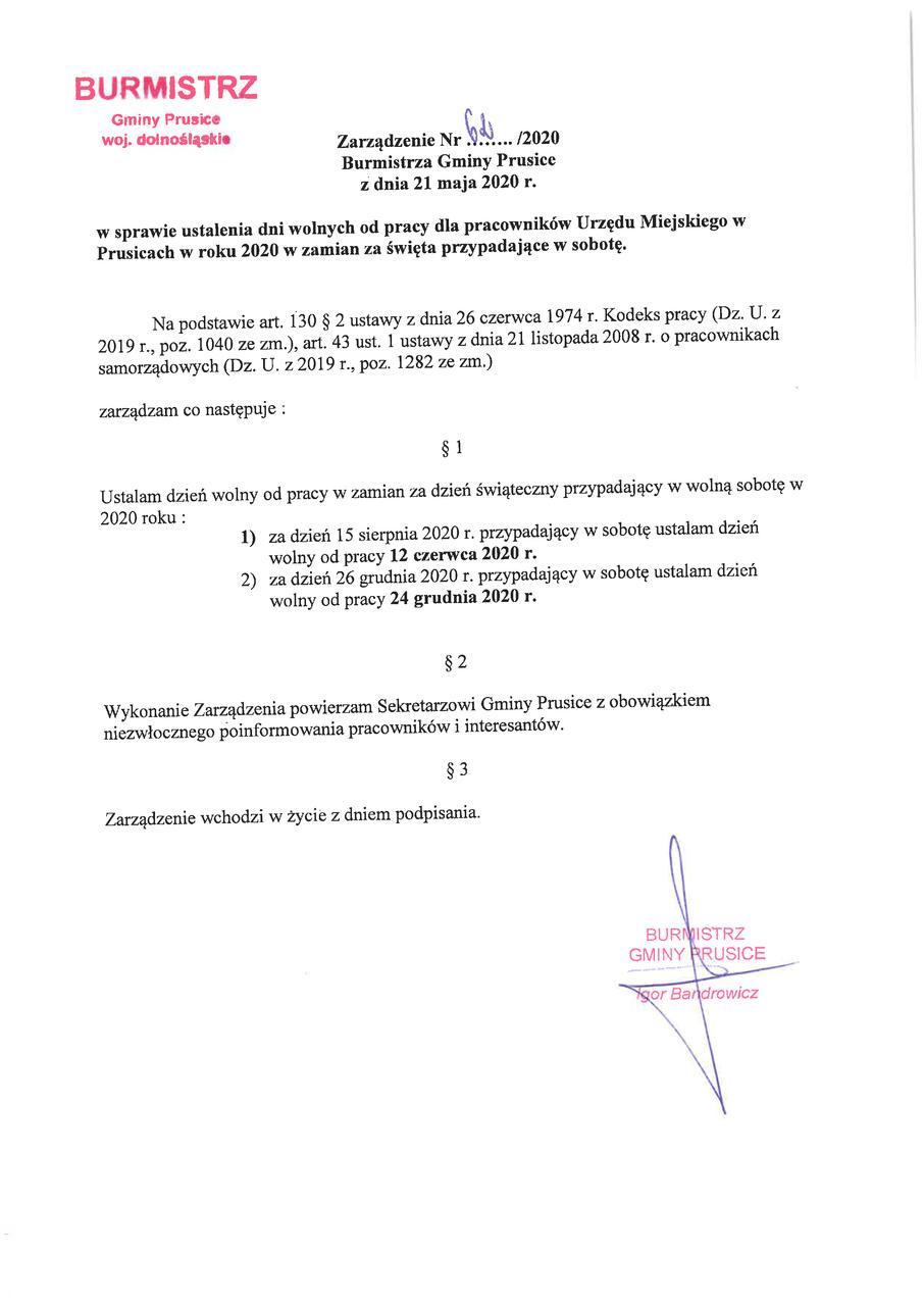 Zarządzenie Burmistrza Gminy Prusice nr 62-2020-01.jpeg