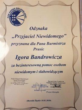 """Galeria Burmistrz z Odznaką """"Przyjaciel Niewidomego"""""""